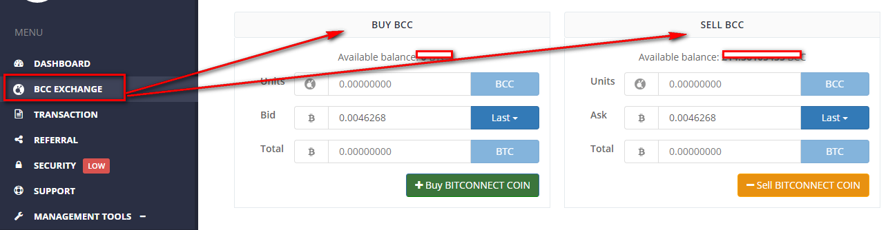 Buy and sell bcc